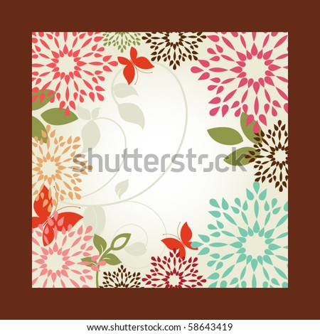 Flowers in frame - foliage  and  butterflies (remove frame to revel full flowers) - stock vector