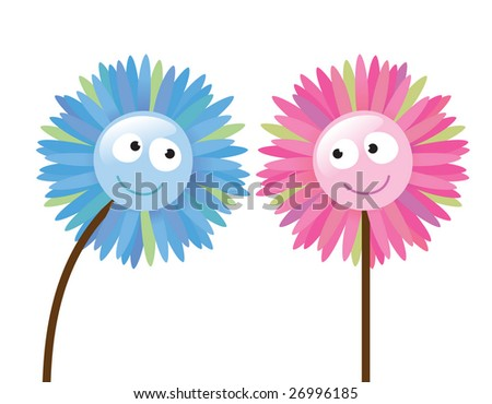 2 flowers that like each other - stock vector