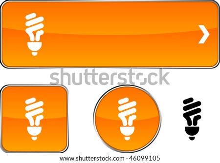 Fluorescent bulb  web buttons. Vector illustration. - stock vector