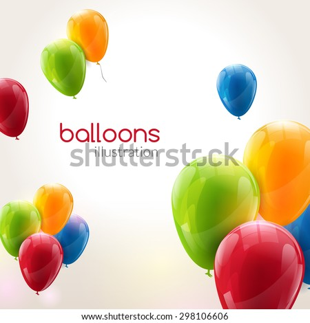 Flying vector festive balloons shiny with glossy balloons for holiday - stock vector