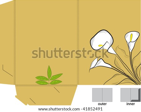 Folder with die cut (calla lilies) - stock vector