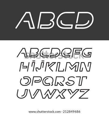 font abc alphabet italic set - stock vector