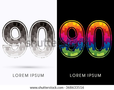 90 Font , Colors and black melt graphic vector