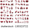 77 food and drink icons set for white background - stock vector
