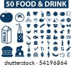 50 food & cafe signs. vector - stock vector