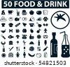 50 food & drink signs. vector - stock vector