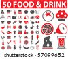 50 food & drink signs. vector - stock vector