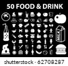 50 food & drink signs. vector - stock photo