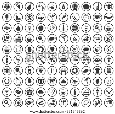 100 Food icons set - stock vector