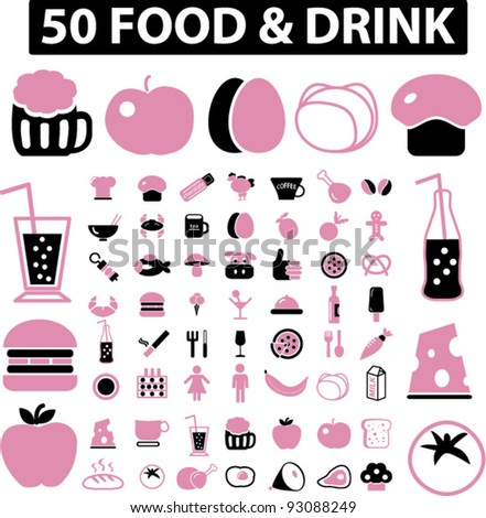 50 food icons set, vectr - stock vector