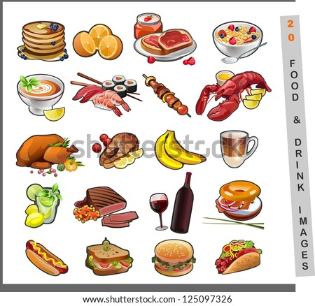 20 food images - stock vector