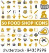 50 food shop icons, signs, vector illustrations set - stock vector