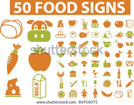 50 food signs, icons, vector - stock vector