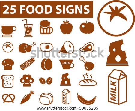 25 food signs. vector - stock vector