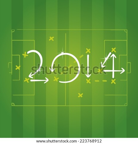 2014 football strategies for goal - stock vector
