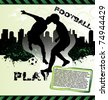 Football urban grunge poster with soccer player silhouette - stock