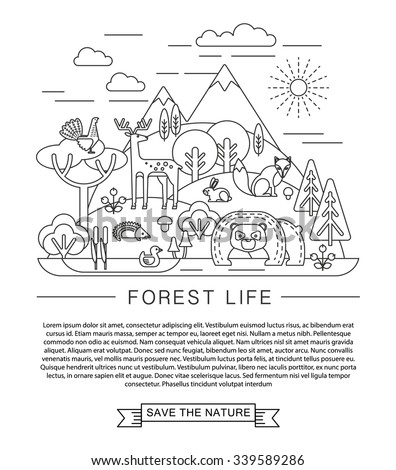 Forest life concept. Trendy graphic style. - stock vector