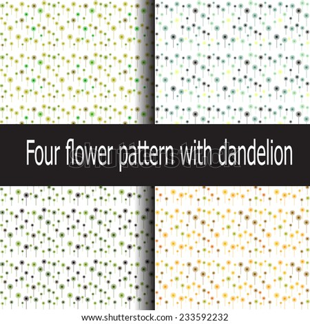 Four abstract flower pattern with dandelion  - stock vector