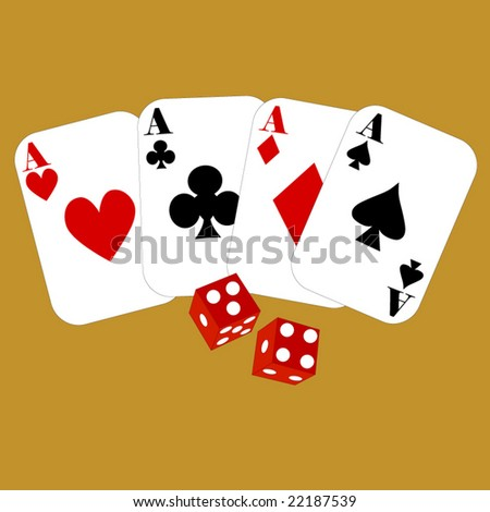 four aces cards and dice showing lucky 7