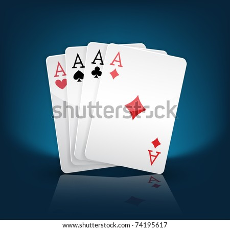 four aces playing cards suits on blue - stock vector