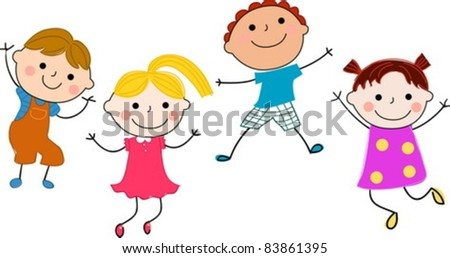 four jumping kids - stock vector