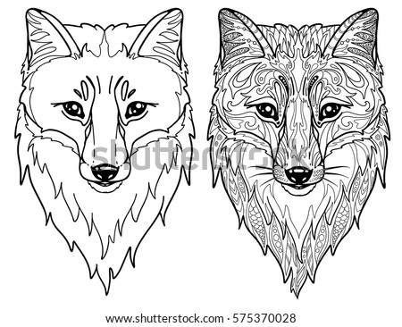 Fox head doodle outline animal face stock vector 575370028 shutterstock