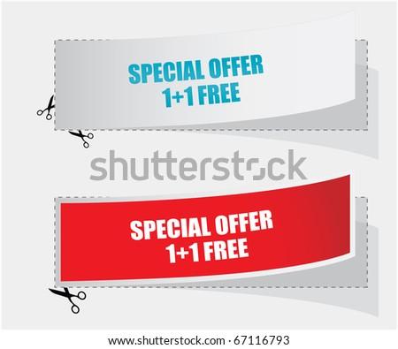 1+1 free labels - vector - stock vector