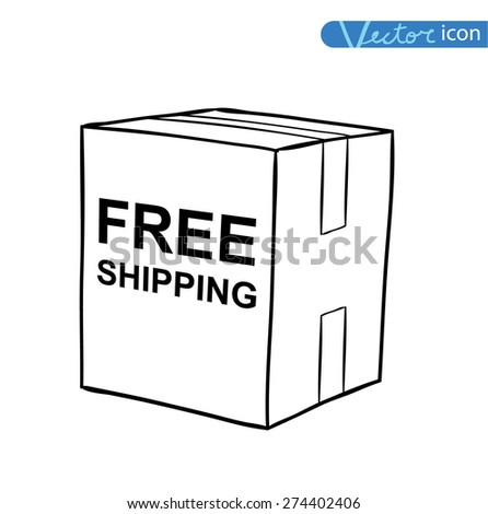 Free shipping box. Vector illustration - stock vector
