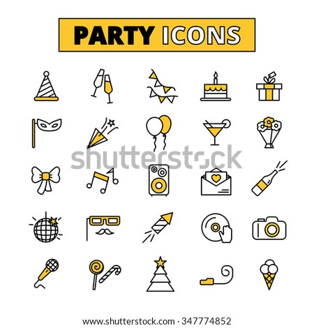 Friday evening wedding party outlined icons collection with invitation cake and music symbols abstract isolated vector illustration - stock vector