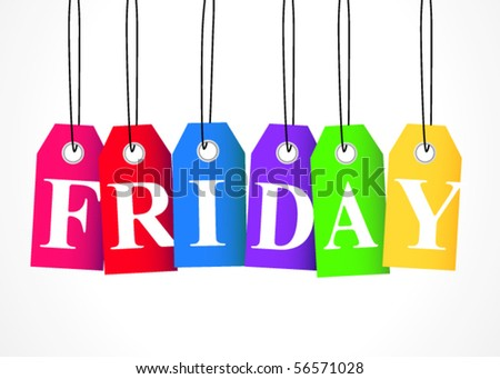 """""""FRIDAY"""" hanging tags - stock vector"""