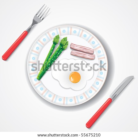 fried egg, bacon and green asparagus browses (vector,CMYK) - stock vector
