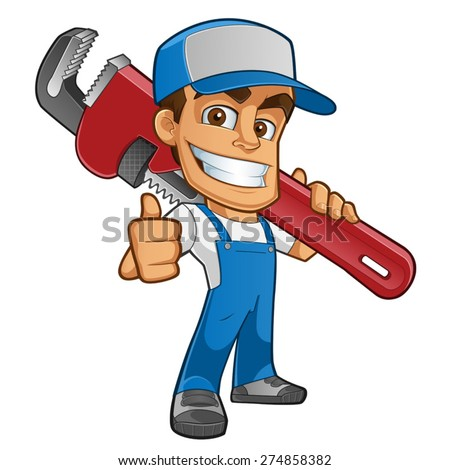 Friendly plumber, he is dressed in work clothes and carrying a tool - stock vector