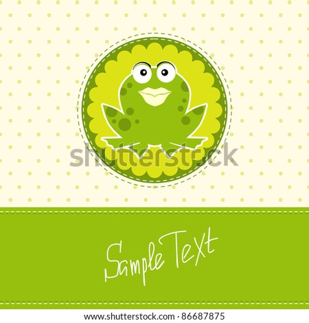 frog greeting card - stock vector