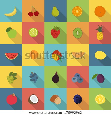 25 fruit icons in colorful flat design style vector - stock vector