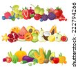 3 fruits vegetables and berries horizontal borders - stock