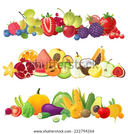 3 fruits vegetables and berries horizontal borders - stock vector