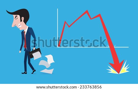 Frustrated businessman walking out after business failure, Failure concept. - stock vector