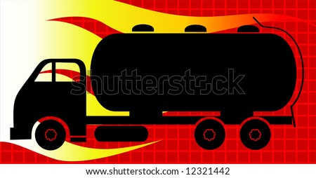 fuel carrying tanker lorry	 - stock vector