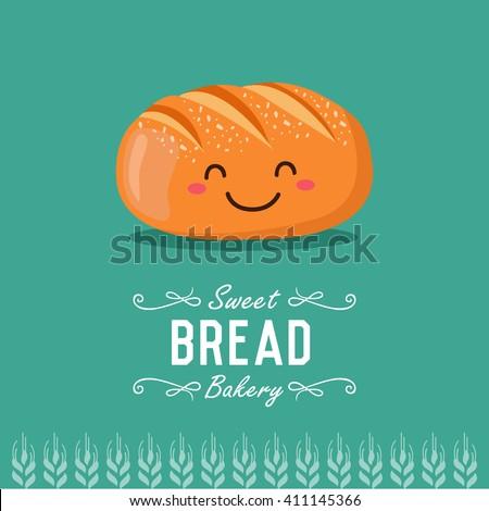 Fun cartoon bread. Bakery and pastry cartoon character. Vector illustration.  - stock vector