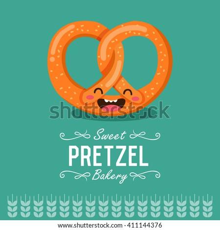 Fun cartoon pretzel. Bakery and pastry cartoon character. Vector illustration.  - stock vector