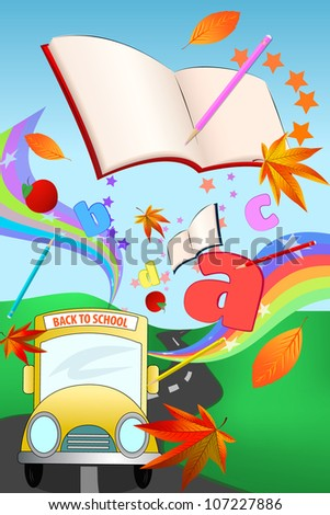 Fun illustration with school bus, various objects, autumn leaves and colorful rainbows,isolated on white - stock vector