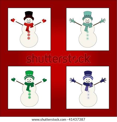 4 fun snowmen - different snowflakes as buttons on each snowmans' belly - stock vector