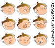 funny cartoon kid's faces having different expressions. See art-line version in my portfolio - stock photo