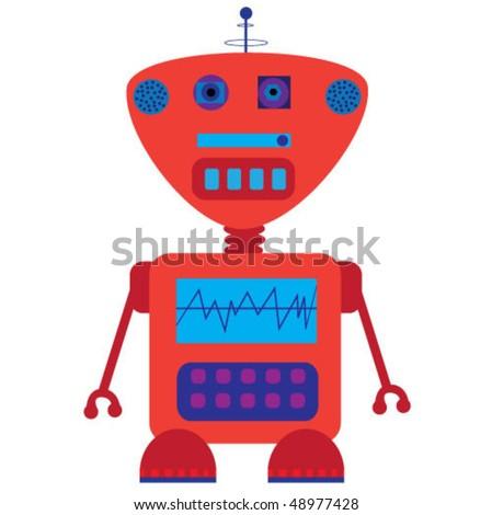 funny cute robot. vector illustration - stock vector