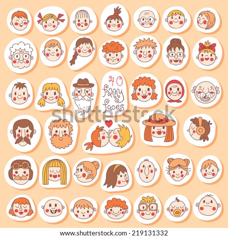 40 Funny Faces. People of all ages. Cute vector set. - stock vector