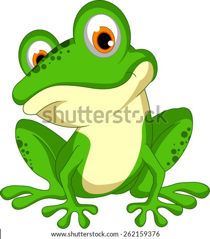 funny Green frog cartoon sitting  - stock vector