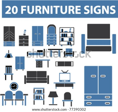 20 furniture signs, icons, elements, vector - stock vector
