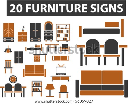 20 furniture signs. vector - stock vector