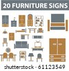 20 furniture signs. vector. see more vector signs in my portfolio - stock vector
