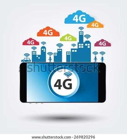 4G concept. vector illustration. - stock vector